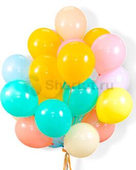 Облако латексных разноцветных нежных шаров 25 шт