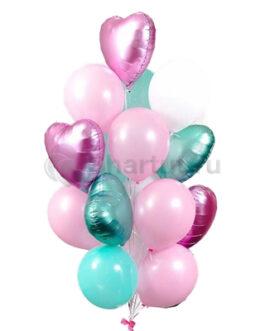 Композиция из шаров с розовыми и бирюзовыми сердцами
