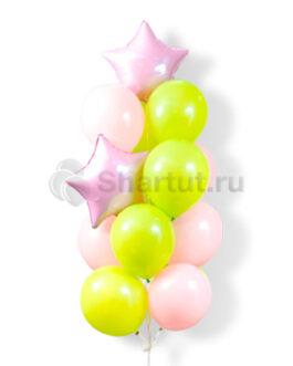 Композиция из шаров с розовыми звездами
