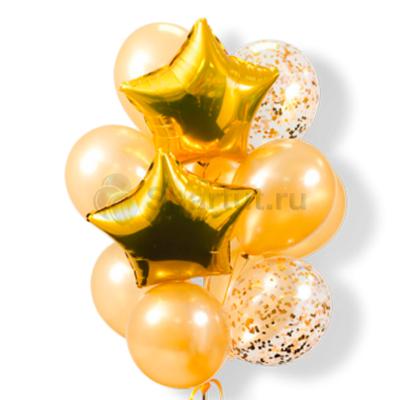 Композиция из шаров с золотыми звездами