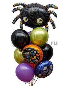 Композиция шаров Хэллоуин шары разных цветов и паук