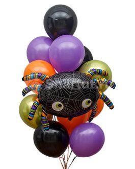Композиция шаров Хэллоуин паук и шары разных цветов
