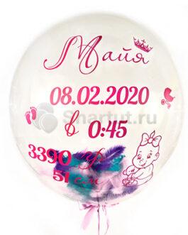 Шар Bubble с надписью и рисунком на выписку