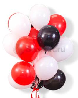 Облако воздушных красно-белых и черных шаров 25 шт