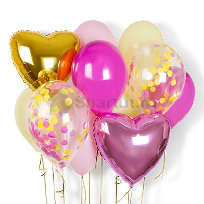 Композиция из фольгированных шаров с конфетти