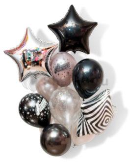 Композиция из шаров с черной, серебряной и полосатой звездой