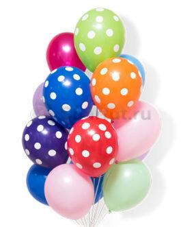 Облако разноцветных шаров из латекса в горошек 25 шт