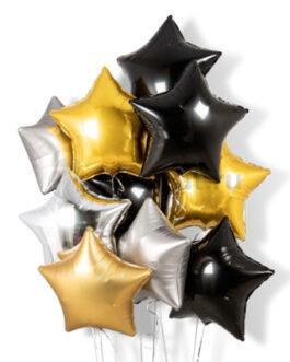 Композиция из черных, золотых и серебряных звезд