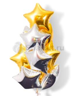 Композиция из шаров с золотыми и серебряными звездами