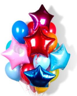 Композиция из шаров с разноцветными звездами