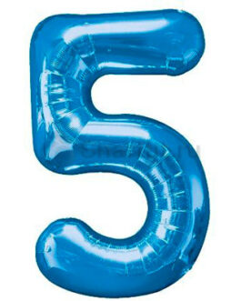Шар цифра 5 синяя