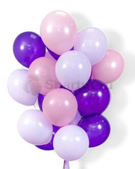 Облако воздушных фиолетово-розовых шаров 25 шт