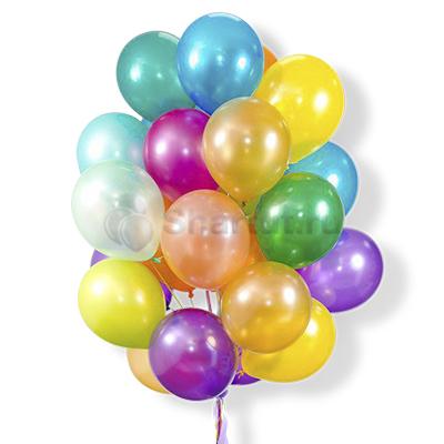 Облако воздушных латексных разноцветных шаров 25 шт
