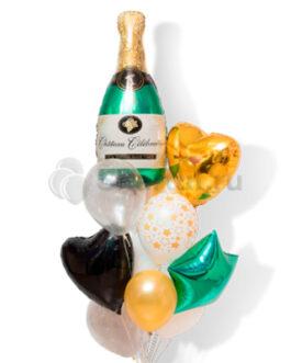 Композиция из шаров с бутылкой шампанского