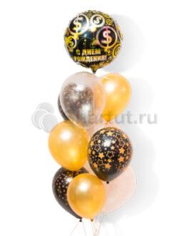Композиция из шаров с черным шаром с надписью