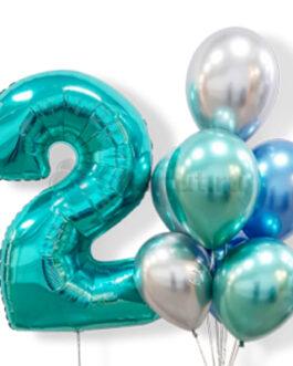 Композиция из шаров с бирюзовой цифрой