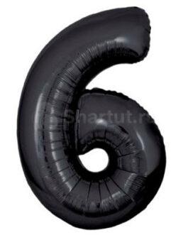 Шар цифра 6 черная