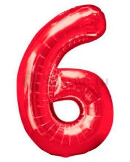 Шар цифра 6 красная