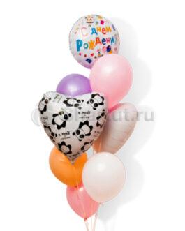 Композиция из шаров с сердцем с пандами и надписью