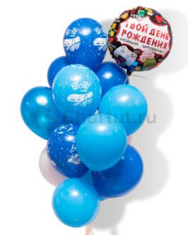 Композиция из голубых шаров с надписью