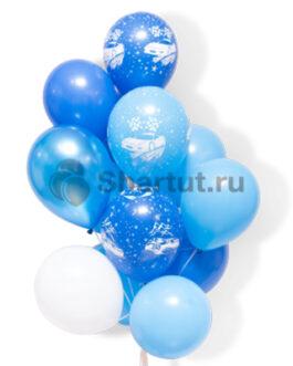 Облако из бело-голубых шаров с рисунком 20 шт