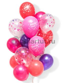 """Облако шаров с надписью """"Люблю тебя"""" 20шт."""