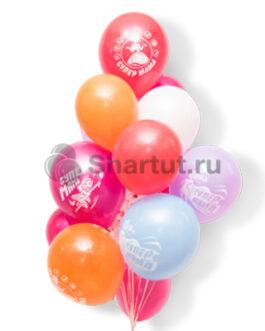 """Облако разноцветных шаров с надписью """"Супер Мама"""" 20шт."""