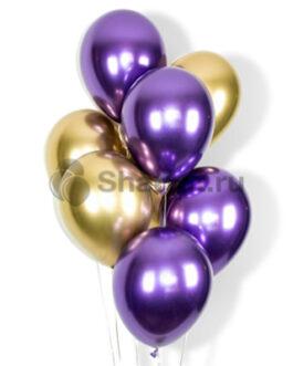 Облако фиолетовых и золотых хромированных шариков 20шт.