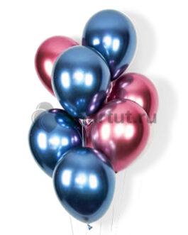 Облако синих и розовых хромированных шариков 20шт