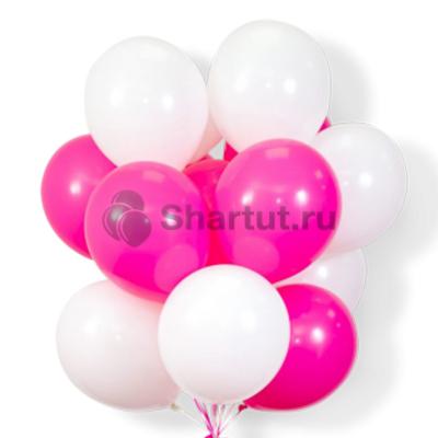 Облако белых и розовых шаров 20шт.