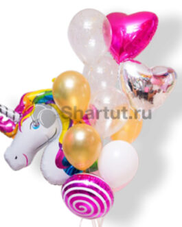 Композиция шаров с единорогом и розовым сердцем