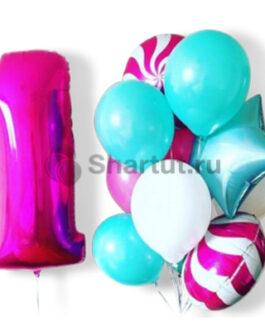 Композиция шаров с розовой цифрой и звездами