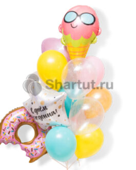 Композиция шаров с мороженным и пончиком