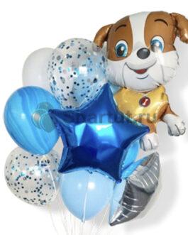 Композиция шаров с собакой