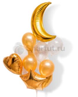 Композиция из шаров с золотым полумесяцем