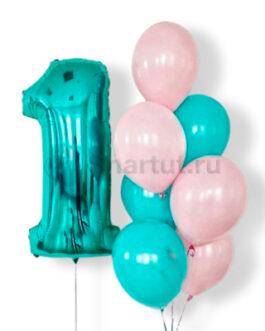 Композиция из шаров с бирюзовой цифрой и розовыми шарами