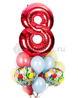 Композиция из шаров на 8 марта с цветными шарами