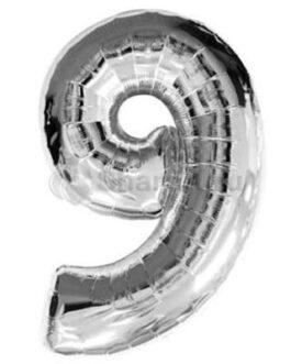Шар цифра 9 серебряная