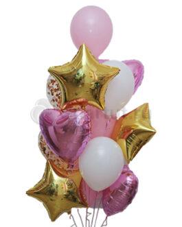 Композиция из шаров с розовыми сердцами и золотыми звездами