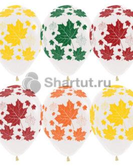 Латексный шар 30 см «Разноцветные листья»  кристалл