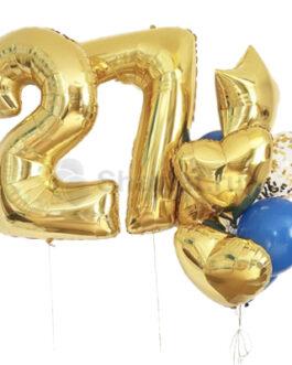 Композиция из шаров с золотыми цифрами