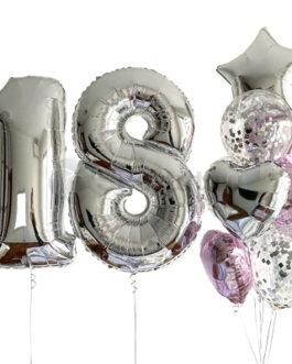 Композиция из шаров с серебряными цифрами